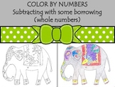 Color by numbers: subtraction (whole numbers) Indian Elephant