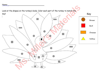 Color by shape Thanksgiving Turkey