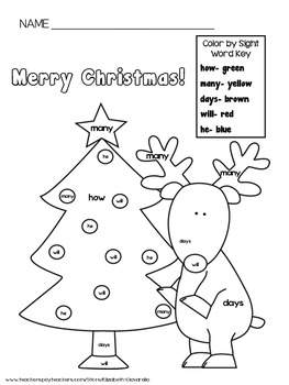 Color by sight word - Merry Christmas or Happy Holidays