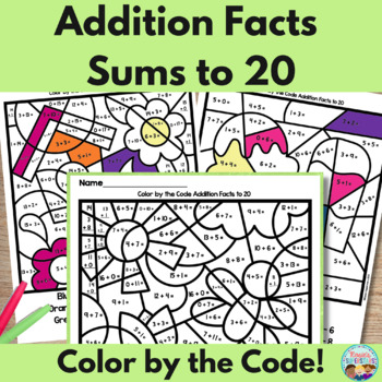 Addition Facts ~ Color by the Code ~ Sums to 20