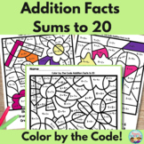 Addition Facts Color by the Code Sums to 20