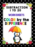 WINTER FUN - Color by the Number - Subtraction 1 to 20 Worksheets