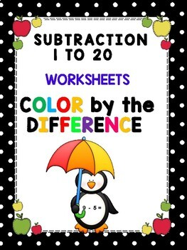 Color by the Number - Subtraction 1 to 20 Worksheets  CCSS