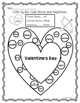 Color by the Code for Valentine's Day Word Work