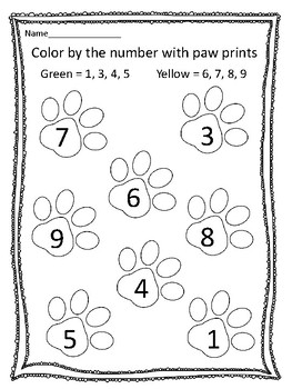 Color by the Number with Paw Prints