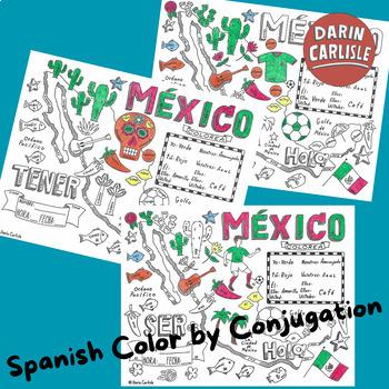 Color by verb conjugation ~TENER ~Spanish verbs ~NO PREP ~Mexico verb practice