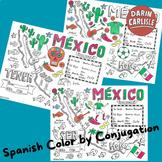 Color by verb conjugation ~TENER ~Spanish verbs ~NO PREP ~