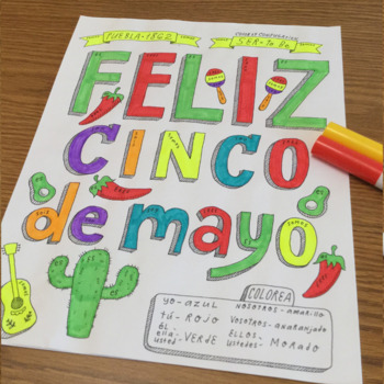 Color by verb conjugation ~ser ~cinco de mayo ~no prep ~Spanish verb conjugation