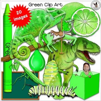 Color clip art. Green color realistic clipart set 5