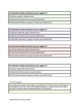 Color-coded Essay Outline Template