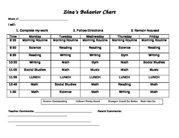 Color coded Weekly behavior chart