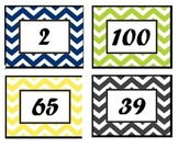 Color coded, chevron pattern, 1-100 numbers board, cards
