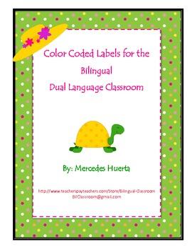 Color coded dual language classroom labels Letreros para e