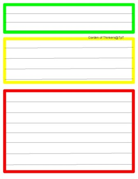 Color-coded graphic organizer writing paper
