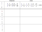 Color-coded worksheets on multiplying and dividing fractions