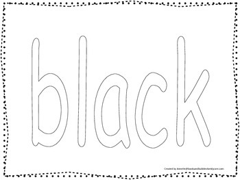 """Color collage spelling.  Spell and color the word """"black"""".  Preschool worksheet."""