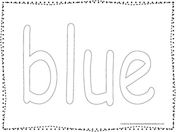 "Color collage spelling.  Spell and color the word ""blue"".  Preschool worksheet."