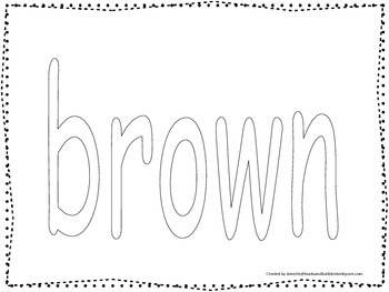 "Color collage spelling.  Spell and color the word ""brown"".  Preschool worksheet."