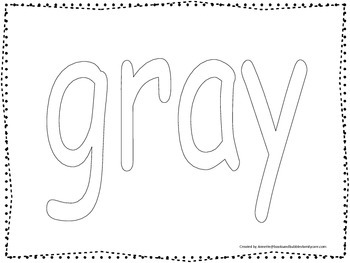 """Color collage spelling.  Spell and color the word """"gray"""".  Preschool worksheet."""