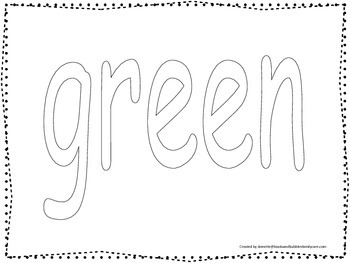 """Color collage spelling.  Spell and color the word """"green""""."""