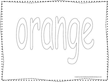 """Color collage spelling.  Spell and color the word """"orange"""". Preschool worksheet."""