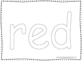"""Color collage spelling.  Spell and color the word """"red"""". Preschool worksheet."""