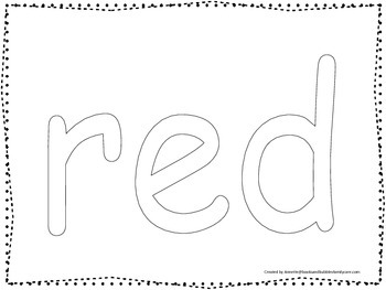 "Color collage spelling.  Spell and color the word ""red"". P"