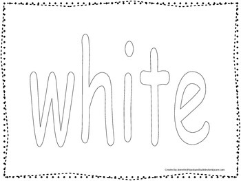 """Color collage spelling.  Spell and color the word """"white"""". Preschool worksheet."""
