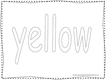 "Color collage spelling.  Spell and color the word ""yellow"". Preschool worksheet."