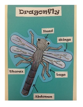 Color, cut, and glue, dragonfly