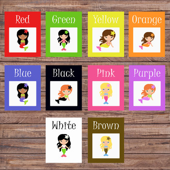 Color flash cards - Preschool/Pre-K - Colors - Color cards - Mermaids