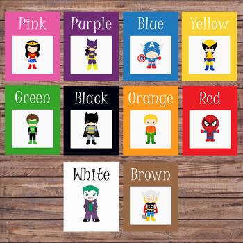 Color flash cards - Preschool/Pre-K - Colors - Color cards - Superhero