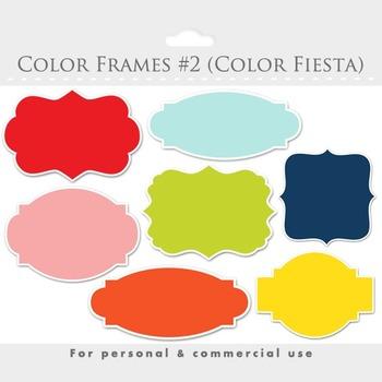 Color frames clipart - elegant frames, ornate flourish frames, digital frames