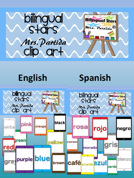 Color iPads Clipart names in English and Spanish Bilingual