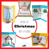 Color-in Christmas Pop-up Cards