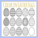Color in Easter Eggs with Patterns Commercial Use Clip Art Set