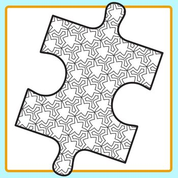 Color in Jigsaw Puzzle Pieces Clip Art Set for Commercial Use