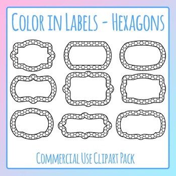 Color in Labels - Hexagons Clip Art Pack for Commercial Use
