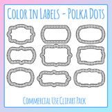 Color in Labels - Polka Dots Clip Art Pack for Commercial Use