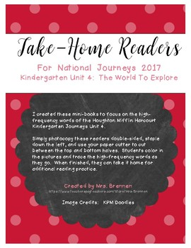 Color-in Readers to Accompany Unit 4 of the Kindergarten Journeys 2017 Series