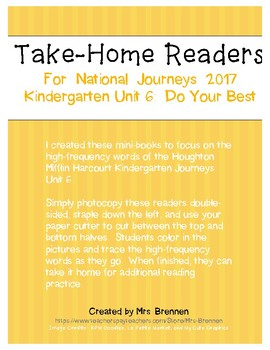 Color-in Readers to Accompany Unit 6 of the Kindergarten Journeys 2017 Series
