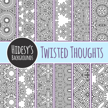Color in Your Twisted Thoughts Backgrounds / Digital Paper Clip Art Commercial