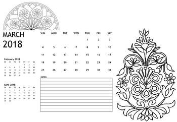 Color it yourself 2018 calendar