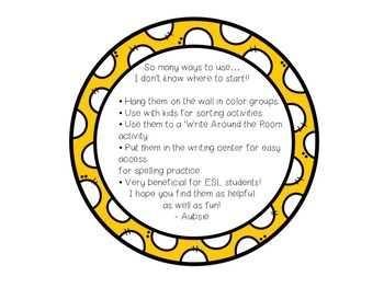Color learning cards - YELLOW