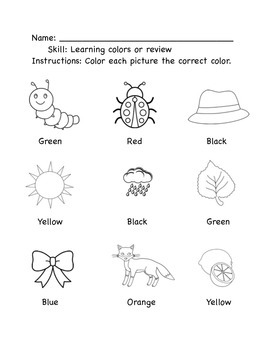 Color learning or review worksheet