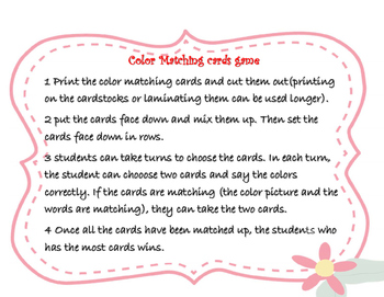 Color matching cards English version