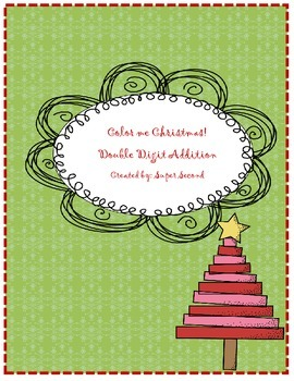 Color me Christmas Double Digit Addition (no regrouping)