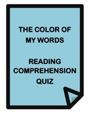 Color of My Words by Lynn Joseph - Reading Comprehension Quiz and Answer Key