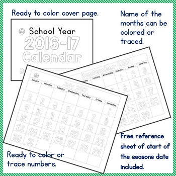 Teach Calendar Skills - Color or Trace Calendar Numbers - SY 2016-17 PK-2, SPED