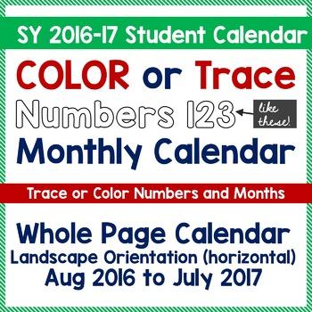 Teach Calendar Skills - Color or Trace Calendar Numbers -